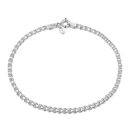 Amberta 925 Sterling Silver 2.3 mm Heart Chain Bracelet Length 8