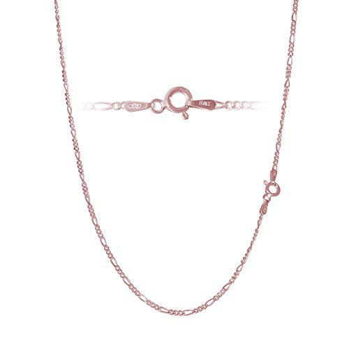 Rose Gold Plated Sterling Silver Figaro Chain Link Necklace Italian 2mm 20 Inch
