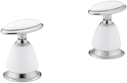 Kohler K-260-0 Antique Ceramic Oval Handle Insets and Skirts for Bath Faucets, White