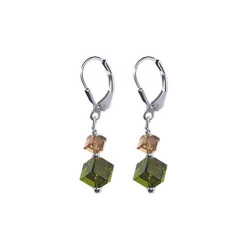 Gem Avenue 925 Sterling Silver Diagonal Cube Shape Swarovski Elements Crystal Handmade Drop Earrings for Women