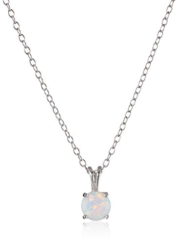 Sterling Silver Created Opal Pendant Necklace
