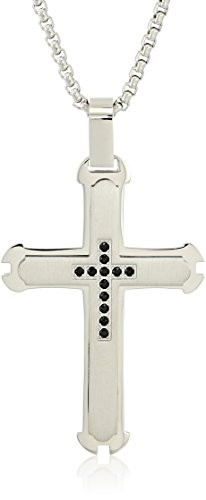 Men's Stainless Steel Black Cable Cross with Rose IP on 24