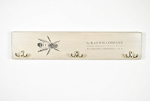 Wooden coat rack with vintage bee print by arborala (Image #4)