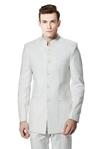 MYS Men's Custom Made Mandarin Collar 5 Button Tuxedo Suit Pants Set White Size 38R (White Collar Season Six compare prices)