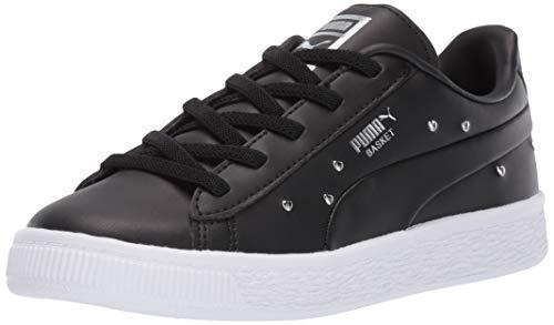 PUMA Girls' Basket Studs Sneaker, Black- Silver, 9 M US Toddler