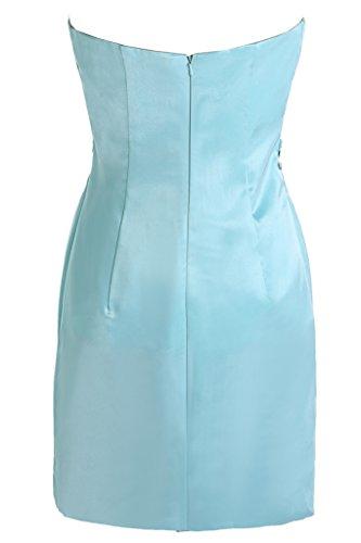 Toscana de novia vestidos de novia sin tirantes por la noche vestido de satén corto vestidos de fiesta Azul