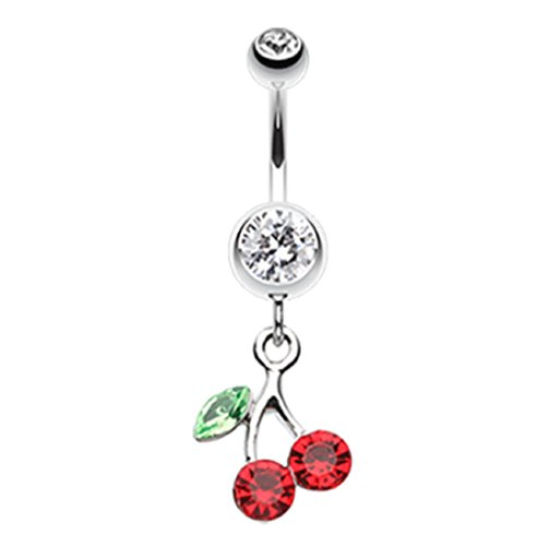 Navel Cherry Ring - Freedom Fashion Lucky Cherry 316L Surgical Steel Belly Button Ring (Sold Individually) (14GA, 3/8