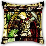 - Artistdecor The Oil Painting Antonio Da Pandino - Stained Glass With St. Michael Weighing Souls Throw Cushion Covers Of ,16 X 16 Inches / 40 By 40 Cm Decoration,gift For Birthday,festival,dinning Ro