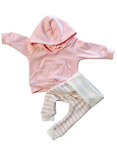 Newborn Baby Girls Clothes Pink Stripe Long Sleeve Hoodie Tops+Pants Outfits Set(6-12months) ()