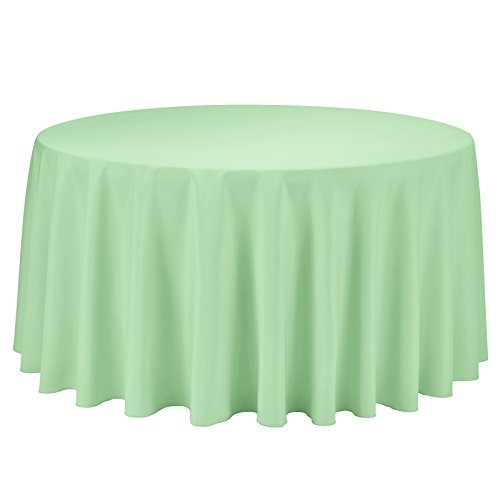 VEEYOO Round Tablecloth 120 inch - Solid Polyester Circular Table Cover for Wedding Party Bridal Shower Restaurant Kitchen Dinner, Mint Green Table Cloth