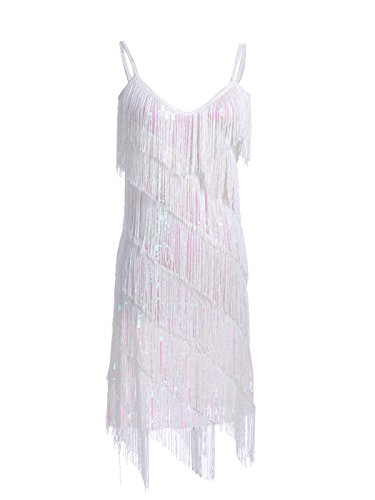 Style Fringe - Anna-Kaci Womens Fringe Sequin Strap Backless 1920s Flapper Party Mini Dress, White, X-Large
