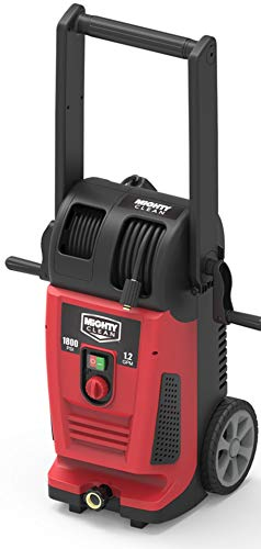 Mighty Clean MC1800 Electric Pressure Washer with Live Hose Reel and Turbo Nozzle, Red Black