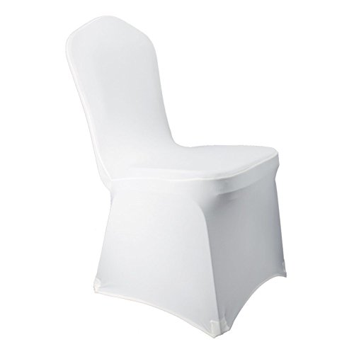 White Stretch Spandex Chair Covers Wedding Universal - 50 Pcs Banquet Wedding Party Dining Scuba Elastic Chair Covers (White, -