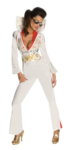 Secret Wishes Womens Elvis Jumpsuit Costume, White, (White Elvis Costume)