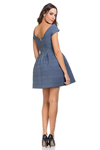 Femme Tantra Effet Patineuse Bleu Courtes Robe Manches 4qwfAa