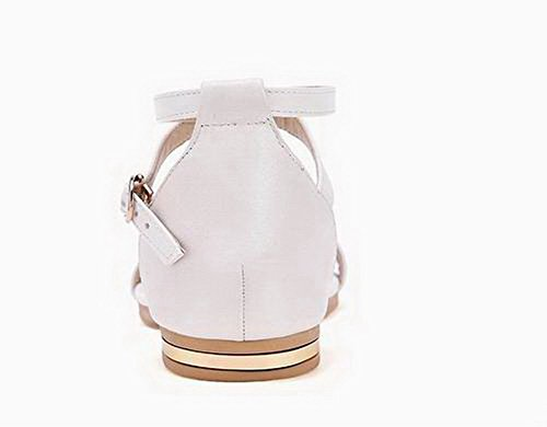 Sandals Toe White Women's Open Pu Solid 39 WeenFashion Heels Low pqag70