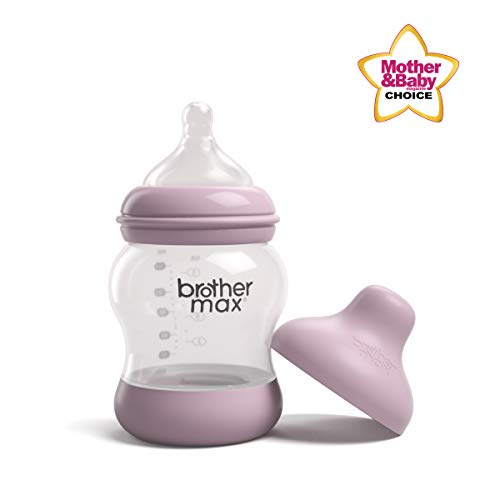 Brother Max Baby Bottles, Anti-Colic Breast-Milk Feeding Bottles, Breast-Like Nipple for Natural Latch, BPA-Free (Pink, 5oz)
