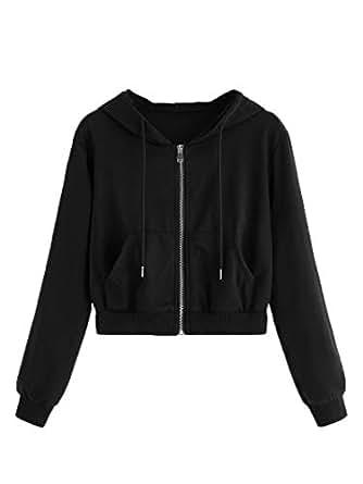 Mulimia Women's Casual Zip Up Drawstring Long Sleeve Crop Hooded Jacket Outwear Sporty