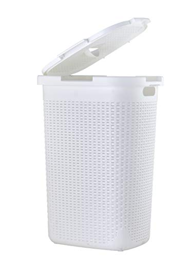 Superio Laundry Hamper with Lid 1.15 Bushel Slim and Tall Wicker Style White Color - Durable Laundry Basket with Cutout Handles - Dirty Cloths Storage in Bathroom or Bedroom Apartment, Dorms