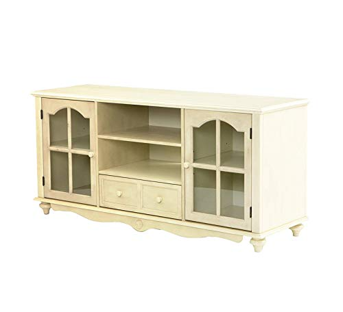 Furniture Covetry Large TV Console - Windowpane Cabinets w/Shelves - Antique White Finish Premium Office Home Durable Strong