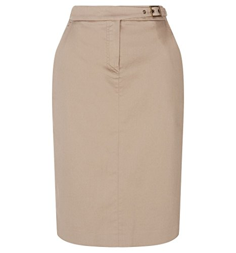 Hobbs Pencil Skirt Fly Front Buckle Waist Beige (Gabardine Stretch Skirt)