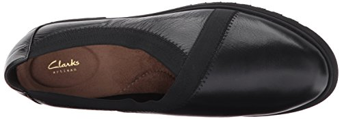 Clarks Womens Bellevue Cedar Slip-On Loafer, Black Leather, 10 W US