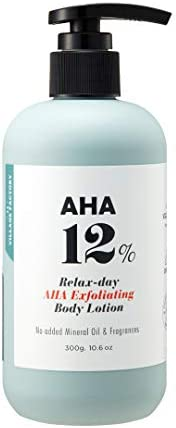 AHA 12% Body Lotion, Exfoliating & Anti-Aging Formula with 12% Glycolic Acid and Hyaluronic Acid. Unscente