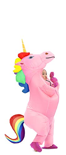 Inflatable Unicorn Costume Pony Horn Horse Suit for Halloween (Rainbow Small)