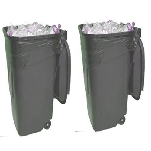 Trash Can Outdoor 44 gallon with LId Set of 2 Rolling Recycling Bin Garbage Pet Proof Resistant Outside No-Odor Wheel Industrial & - Set Trash