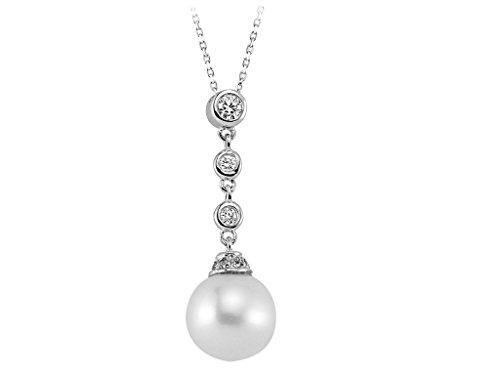 Pendentif Perle et Diamants-Femme- or Blanc 204P0061