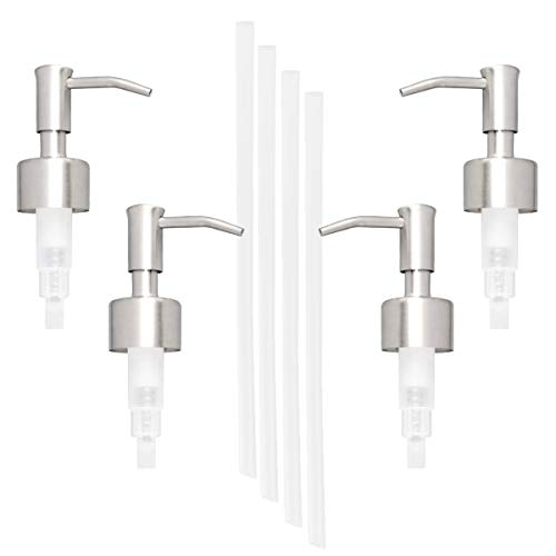 Kingrol 4 Pack Stainless Steel Soap and Lotion Replacement Dispensers Pump