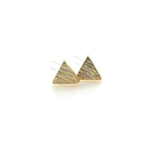 Triangle Stud Invisible Clip On Earrings 9mm Brushed Gold-Tone