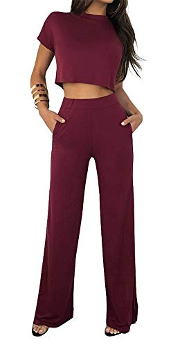 (Women Casual O-Neck Short Sleeve Crop Tops High Waist Flare Long Pants Jumpers 2 Piece Outfits)