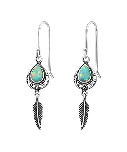 Wholesale Gemstone Earrings - Sterling Silver Sequoia with Teal Opal Wholesale Gemstone Fashion Jewelry Earrings
