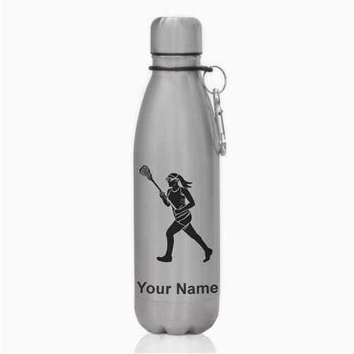 Water Bottle - Lacrosse Player Woman - Personalized Engraving Included by SkunkWerkz