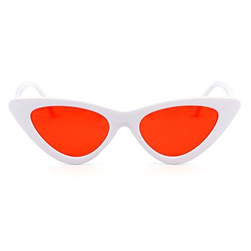 ojo Gafas protección Blanco mujeres Rojo Lente estilo vintage ADEWU niñas sol de sol gato de gafas Cobain Kurt Gafas de para Marco de retro de d4Pqt81