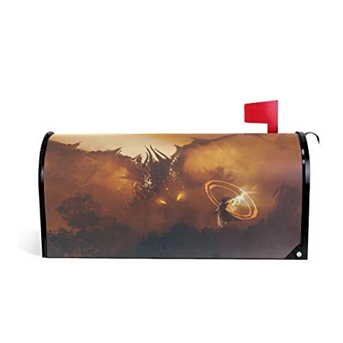 CoolMailboxicoveriw Dangerous Dragon Sorcerer Mailbox Covers Magnetic Seasonal Colorful Pattern Home Houses Decorations Size 6.5