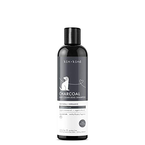 kin+kind Charcoal Dog Shampoo with Activated Charcoal and Essential Oils: Natural, Organic, and Moisturizing, 12 fl oz
