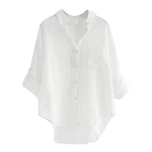 Lino Leggero Relaxed Manica Monocromo Casual Shirts Eleganti Button Bavero Primaverile Lunga Camicetta Battercake Bianca Fashion Camicia Bluse Donne Estivi Casuale Donna Zw8nxwIF6C