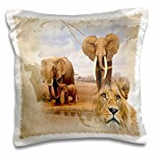 Spiritual Awakenings-Animals - Out of Africa map background and Elephant herd and Lions - 16x16 inch Pillow Case