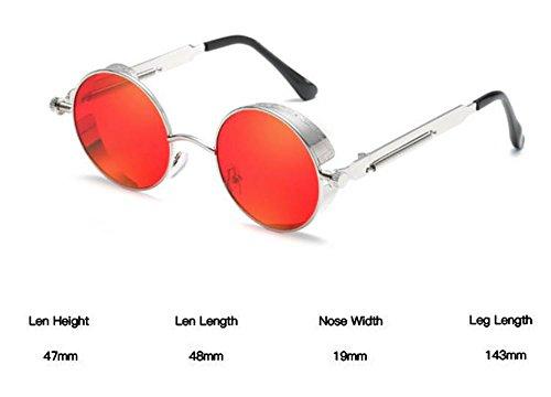 polarisées personnelles Lunettes lunettes steampunk UV400 Argent Rouge soleil lunettes rétro Huateng de rondes RvUtaRq