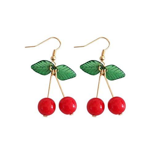 (IUTING Fruit Pendant Earrings Female Red Cherry Earrings Personality Fruit Long Eardrop in South Fruit Jewelry Earring)