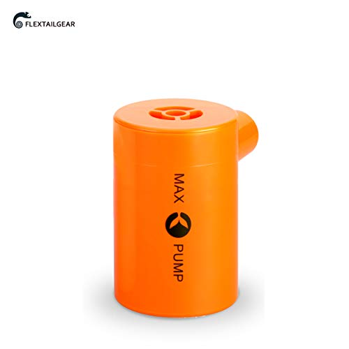 FLEXTAILGEAR Portable Air Pump with 3600mAH Battery USB Rechargeable lightweight Air Pump - Quick Inflate and Deflate for Your Air Mattress, Pool Toys, Floats, swimming Ring, Lifebuoy, Air Bed (Orange by FLEXTAILGEAR