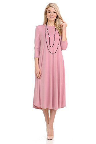 iconic luxe Women's A-Line Swing Trapeze Midi Dress X-Large Rose
