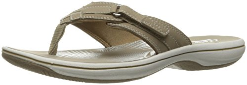 Clarks Women's Breeze Sea Flip Flop, Taupe, 10 B(M) US ()