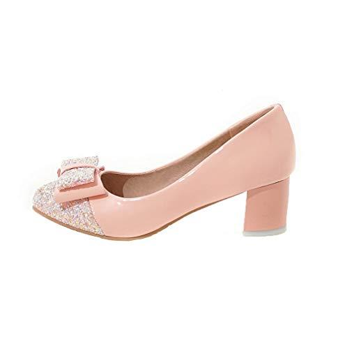 Flats Rosa Tacco Tirare Colore AgooLar Assortito Ballet Lucido GMMDB006203 Donna Medio Tessuto AzHqPf
