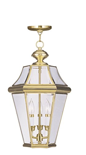 Livex Lighting 2365-02 Georgetown 3-Light Outdoor Hanging Lantern, Polished - Outdoor Hanging Polished Brass