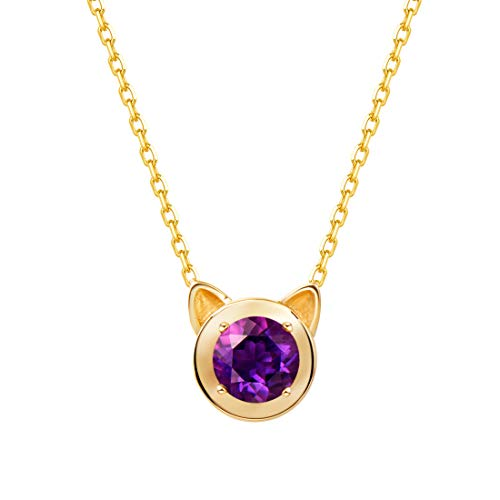 - Carleen 14k Solid Yellow Gold Round 0.398ct Amethyst Cat Ear Pendant Kitty Necklace For Women Girls, 16