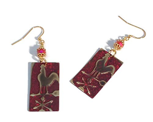 - Red Rooster Weathervane Rectangle Earrings, Gold Plated Brass, Nickel Free, Unique One of a Kind