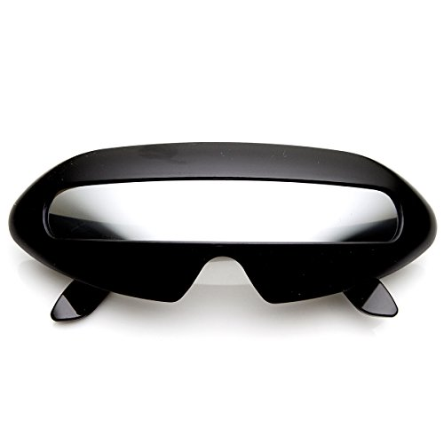 - Futuristic Shield Single Lens Oval Party Novelty Cyclops Costume Wrap Sunglasses (Black/Mirror)